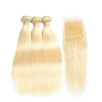 sarışın saç telleri toptan satış-Saç Bal Sarışın Malezya Düz Saç Kapatma Ile 3 Demetleri Olmayan Remy İnsan Saç Uzatma 100% Platin İnsan Kral Gül Kraliçe