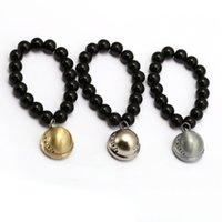 ingrosso braccialetti di onice neri per le donne-Anime ONE PIECE Bracciali Trafalgar Law Hat Fascino Handmade Natural Black Onyx Bracciale Uomo Donna Bracciale gioielli