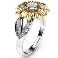 sonnenblumen-klassiker großhandel-Mode-Klassiker Sonnenblume Multi-Color-Ring eingelegten Zirkon Schmuck Schmuck Ring europäischen und amerikanischen
