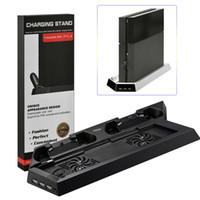 controlador ps4 más frío al por mayor-PS4 Mutilfunctional Soporte de refrigeración vertical Ventilador de refrigerador Joystick / Controlador / Joypad Dual Cargador USB para Playstation 4 PS4