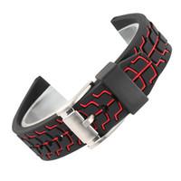 ingrosso braccialetti di cuoio in tessuto-Cinturino in silicone da 20/22 / 24mm cinturino in silicone rosso / blu / arancio per uomo con cinturino con fibbia per orologi sportivi