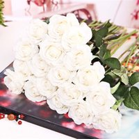 ingrosso nave di goccia del fiore di seta-Decorativo 20pcs lattice artificiale fiori di rose tocco reale fiori di seta bouquet da sposa floreale decorazione del partito casa trasporto di goccia