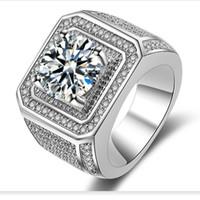 gemas superiores al por mayor-Nuevo Hiphip Anillos de diamantes completos para hombres Mujeres de alta calidad Fashaion Hip Hop Accesorios Crytal Gems 925 Anillo de plata Anillo de hombre