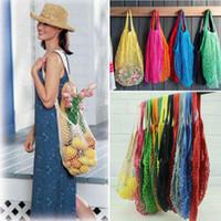 Wholesale soccer football net - Mesh Net Bag String Shopping Bag Reusable Fruit Vegetables Storage Handbag Totes Mesh Woven Shoulder Bag Outdoor Bags 200pcs OOA5345