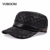 Wholesale diamond ear cap - VOBOOM Diamond Embroidery Sheepskin Hat Cadet Cap Hat For Man Genuine Leather Quinquagenarian Thermal Ear Hats MY0011