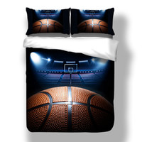 Wholesale queen size beds free shipping for sale - 3D BasketBall Duvet Doona Quilt Cover Set Single Full Queen King Size Sports Bedding Set