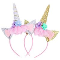 ingrosso fascia d'oro diy-Arcobaleno Unicorno Corno fascia Bambini Chiffon Oro argento Unicorno Hairband Glitter Hairband Regalo di Natale per il partito di capelli fai da te Accessoriess