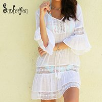 2819dc1286b64 Beach Cover up Swimwear Women Cover ups Lace Beach Dress Tunic Tassel  Crochet Bathing Suit ups Pareo de plage Beachwear