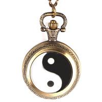 латунь цепь фарфор оптовых-Китай Традиционный Тай Чи Логотип Дизайн Латунные Карманные Часы С Цепным Ожерельем Лаки для Мужчин Женщин