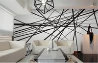 papier peint de doublure achat en gros de-Résumé Photo Mural Wallcoverings 3D Personnalisé Toute Taille Fonds D'écran Murales Mur Papier Rouleau Mur Art Décor Noir Blanc Ligne