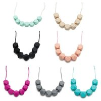 Wholesale baby beaded necklaces - silicone chew jewelry kids fashion beaded necklace women necklaces baby food grade silicone teething beads chewing toy teether soother