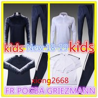 Wholesale Fr S - Kids Top quality 2018 World Cup FR SOCCER training suit veste survêtements POGBA GRIEZMANN chandail de football survêtement boys tracksuit