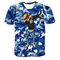 Wholesale Camouflage Graphics - Mens Womens Fashion T Shirt Camouflage Anime One Piece 3D Print T-Shirts Hip Hop Graphic Tee Summer Tops
