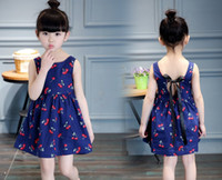 Wholesale Cartoon Chinese Dresses - Girl In Summer New Children'S Clothing Clothing Pure Color Cartoon Cherry Girl Lovely Princess Dress Clothes 3-7Y