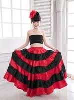 falda del vientre niños al por mayor-Falda flamenca española para niños Traje de baile brasileño Traje de baile gitano Robe De Belly Dance Belly Clothes 540 Degree