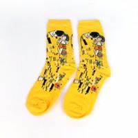 chaussettes de peinture célèbres achat en gros de-Homme Chaussettes Huile Drôle Chaussette Van Gogh Murale Monde Célèbre Peinture Série Mode Rétro Femmes Nouveau Personnalité Art Chaussette Homme Été