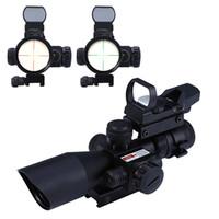 ingrosso campo di illuminazione mil dot-Telescopio Mil-dot Rail Mount Caccia Tactical Mirino Caccia Ottica 2.5 - 10X40 Rosso / Verde Laser Dual Illuminated Scope