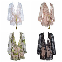 Wholesale jumpsuit vintage wholesale - Deep V Neck Lace Sequin Jumpsuit Sexy Women Embroidery Long Sleeve Gold Playsuit Vintage Mesh Romper Overall Party Clothes 10Sets LJJO4527