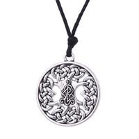 irische schmuck halskette großhandel-Skyrim Wicca Irish Knot Charm Anhänger Halskette Seil Kette Gliederkette Runde Anhänger Halskette Retro Schmuck Für Frauen Geschenk