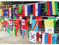 banderas de países calientes al por mayor-2018 Rusia World Cup String flags 8 # 14 * 21cm 32 TOP Países Banderas de Mano Mundo Colgando Bandera Nacional de condados Fiesta del festival decoración Caliente