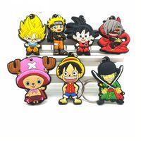 Wholesale naruto keychain anime resale online - 2018 Hot Anime Dragon Ball key chain cartoon Luffy naruto KeyChain Animal Tokyo Ghoul Wukong chains bag Joba Key Ring
