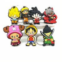 naruto anahtarlık anime toptan satış-2018 Sıcak Anime Dragon Ball anahtarlık karikatür Luffy naruto Anahtarlık Hayvan Tokyo Ghoul Wukong zincirler çanta Joba Anah ...