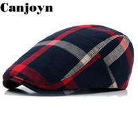 ingrosso berretti-Canjoyn Fashion Summer Autumn Berets England Visor Style Beret Hats Cap Men Women Migliore regalo