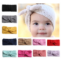 Wholesale hair accessories for baby girls online - Knit Headband Hair bows Bunny Head Band Warm protect Baby girl knit hair accessories for girl cheap