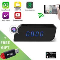 ip saatleri toptan satış-Ev-Ofis için HD 1080P WiFi Saat Kameralar Mini DV Alarm Danışma DVR Güvenlik Dadı WiFi IP Kameralar Kamera