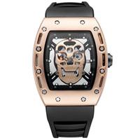 eski kafatası seyretmek toptan satış-Relogio masculino İskelet 44mm big bang İzle erkekler moda kafatası altın vintage kol saati üst marka lüks erkek tasarımcı saatler Kauçuk saat