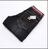 ingrosso jeans piede-Uomo di alta qualità Jeans firmati neri Piedi sottili Jeans micro-elastici Maschio 8922