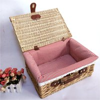 Wholesale Wicker Boxes - Outdoor Picnic Basket High Quality Wicker Basket Portable Storage Box Wine Outdoor BBQ Cutlery