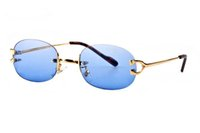 randlose gläser großhandel-Berühmte vintage retro legierung metall sonnenbrille büffelhorn brille luxus designer randlose schlichte spiegelgläser für männer mit original fall