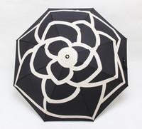 Wholesale umbrellas flowers for sale - Group buy luxury Classic pattern Camellia Flower logo Umbrella For Women Fold Luxury Umbrella with gift Box And Bag Rain Umbrella VIP gift