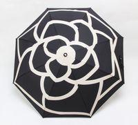 bolsas de regalo plegables al por mayor-Patrón clásico de lujo Logotipo de la flor de la camelia Paraguas para mujeres 3 veces Paraguas de lujo con caja de regalo y bolsa Paraguas para la lluvia Regalo VIP