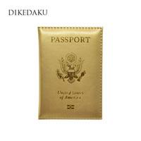Wholesale passport cover pink - DIKEDAKU Luxury Gold USA Passport Holder Unisex High Quality PU Leather Passport Cover Women Fashion Candy Colours Case