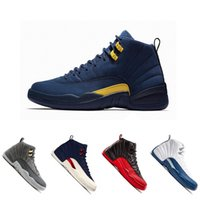 Wholesale college shoes - New Michigan 12 12s Mens Basketball Shoes Classic Dark Grey Flu Game French Blue College Navy Wheat Taxi Gym Red Sports Sneakers Shoes