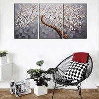 painéis de flores de pintura a óleo venda por atacado-3 Painéis HD Impressão Red White Flower Árvore Do Dinheiro Pintura A Óleo Abstrata Na Lona Retrato Da Arte Da Parede Para Sala de estar Decoração
