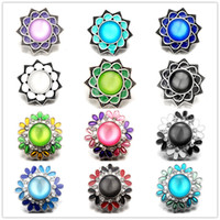 Noosa Chunks Metal Ginger Snap Jewelry Faux Opal flower 18mm snap buttons for snap button bracelet Necklace jewelry