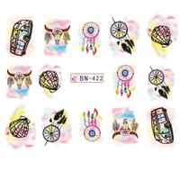 Wholesale bull head sticker for sale - Group buy Water sticker for nail art decoration sliders bus dreamcatcher bull head ink adhesive nail design decal manicure lacquer polish