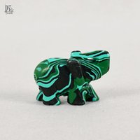 Wholesale Carved Stone Figurines - 2 Inch tiny Elephant Figurine Craft Carved Natural Stone Malachite Elephant Mini Animals Statue for Home Decor Chakra Healing