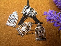 Wholesale bird cage charms for sale - Group buy 36pcs charms Antique Silver Vintage Love Hearts Birds Cages Charms Pendants x20mm