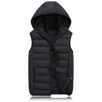 Wholesale Cotton Waistcoat For Men - Warm Sleeveless Jacket 2017 Men Thickening Cotton Vest Hat Hooded Vest Winter Waistcoat For Men Casual Windbreaker