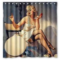 mädchen dusche sexy großhandel-Kostenloser Versand! Vintage Sexy Pin Up Mädchen Gedruckt Wasserdicht Polyester Bad Duschvorhang (180X180 CM)