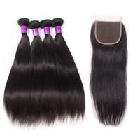 Wholesale hair jet black 26 inches online - 4 Bundles With Lace Closure Mink Brazilian Straight Jet Natural Black Color Hair Bundles With Closure virgin straight Hair Bundles