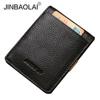 клипсы клипов оптовых-JINBAOLAI Genuine Leather Men Money Clip Slim Wallet  Male Fashion Design Pocket Clip for Moeny Wallets Purses