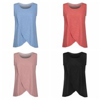Wholesale Nursing Tops Maternity Clothes - Pregnancy Maternity Tops Breastfeeding Shirt Nursing Tops Tank For Women Breastfeeding Shirt Clothes 4 Colors 10pcs LJJO4219