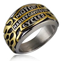 Wholesale Stainless Steel Titanium Rings - European style Jewelry Mens Locomotive alphabet Ring High quality Gold Silver Harley Rings for Men Size 7 to 13