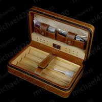 Wholesale Cedar Wood Boxes - New COHIBA Cigar Humidor Cedar wood humidor Carrying travel packets Can installed 4 pcs cigar with Lighters and cigar cutters