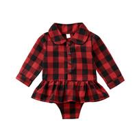 falda larga de cuadros rojos al por mayor-Plaid rojo recién nacido bebé niña de manga larga de algodón traje de cuerpo Tutu falda mono trajes de mono ropa de bebé 0-24 M